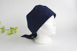Right Side view of Scrub hat White Polka Dots on Navy