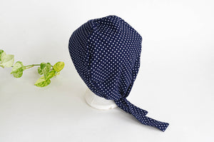 Back view of Scrub hat White Polka Dots on Navy