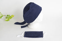 Load image into Gallery viewer, Women Scrub hat , Navy Ground with White Polka Dots pattern and a matching Face Mask
