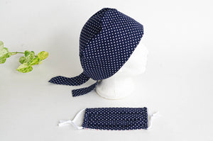 Women Scrub hat , Navy Ground with White Polka Dots pattern and a matching Face Mask
