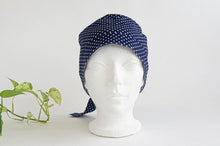 Load image into Gallery viewer, Women Scrub hat , Navy Ground with White Polka Dots pattern