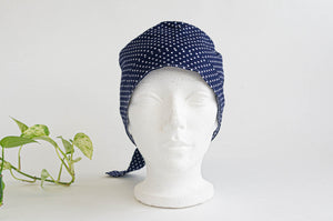 Front view of Scrub hat White Polka Dots on Navy