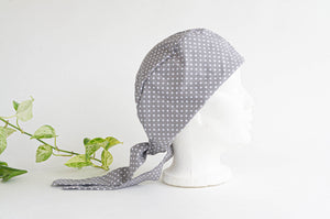 Right Side view of Scrub hat White Polka Dots on Grey