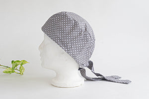 Left Side view of Scrub hat White Polka Dots on Grey