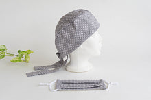 Load image into Gallery viewer, Women Scrub hat , Grey Ground with White Polka Dots , and one matching Face Mask