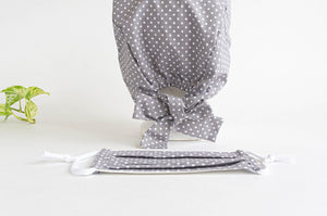 Women Scrub hat , Grey Ground with White Polka Dots pattern, and one Matching Face Mask