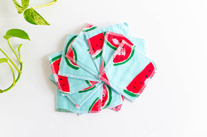 Set of 10 cloth makeup remover with watermelon pattern
