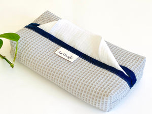 Grey Cotton Waffle dispenser box with White handkerchiefs