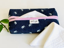 Load image into Gallery viewer, 1 dispenser box in Denim with Elephant pattern and a Pink Stripes print with White handkerchiefs