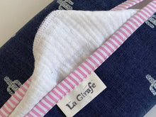 Load image into Gallery viewer, Closeup of a Denim with Cactus pattern box dispenser with Pink trim