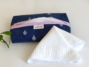 Denim with Cactus pattern box dispenser with Pink trim and with White cotton handkerchiefs