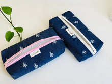 Load image into Gallery viewer, Two Denim with Cactus pattern boxes, one with White trim and one with Pink Trim