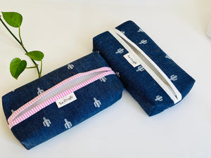 Two Denim with Cactus pattern boxes, one with White trim and one with Pink Trim