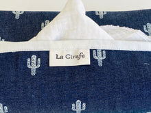 Load image into Gallery viewer, Closeup of a Denim with Cactus pattern box dispenser with White trim
