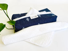 Load image into Gallery viewer, Denim with Cactus pattern box dispenser with White trim and with White cotton handkerchiefs