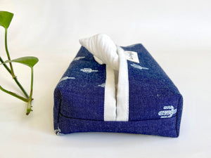Side view of a Denim with Cactus pattern box dispenser with White trim