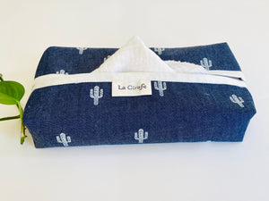 Denim with Cactus pattern box dispenser with White trim