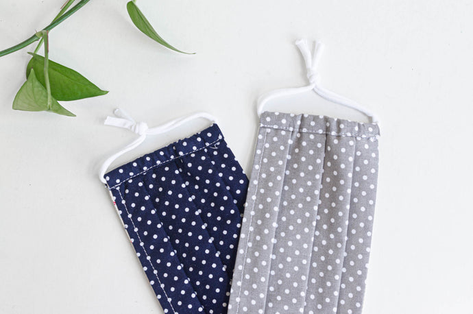 Two face face masks, one Navy ground and White Polka Dots, one Grey grey ground and White Polka Dots
