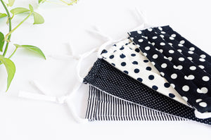 Four cotton cloth face masks, Black and White Polka Dots and Stripes patterns