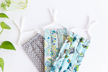 Charger l'image dans la galerie, Three cotton cloth face masks, Polka Dots Grey, Green Paisley, Blue Floral patterns