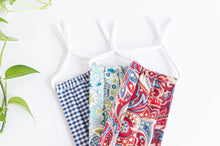 Charger l'image dans la galerie, Three cotton cloth face masks, Blue Checks, Light Green Paisley, Red Paisley