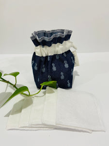 One Pouch made of Denim with Pineapple pattern with a stack of white makeup remover pads