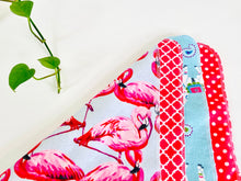 Load image into Gallery viewer, Four flat towels with Flamingo, Lamas and Polka Dots patterns in Pink and Blue