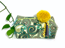 Load image into Gallery viewer, Side view of rectangular Cosmetic bag with Green Paisley printed pattern and Yellow Pompon