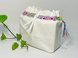 One big bag in off-white cotton canvas with a Butterfly trim