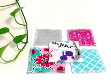 Load image into Gallery viewer, 5 Assorted makeup remover pads with 5 printed patterns in colors Pink and Blue and Grey