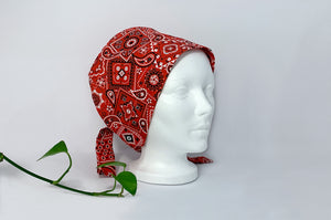 Right view of Red Western Paisley Scrub Cap