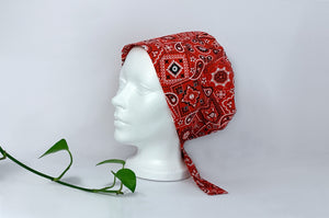 Left view of Red Western Paisley Scrub Cap