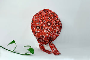 Back view of Red Western Paisley Scrub Cap