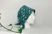 Load image into Gallery viewer, Right side view of Women cotton scrub cap Whit Cactus Pattern printed on Green