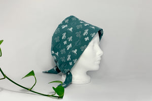 Right side view of Women cotton scrub cap Whit Cactus Pattern printed on Green