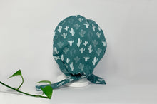 Load image into Gallery viewer, Back view of Women cotton scrub cap Whit Cactus Pattern printed on Green