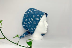Right side view of Women cotton scrub cap Whit Cactus Pattern printed on Blue