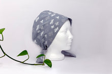 Load image into Gallery viewer, Right side view of Women cotton scrub cap Whit Cactus Pattern printed on Grey