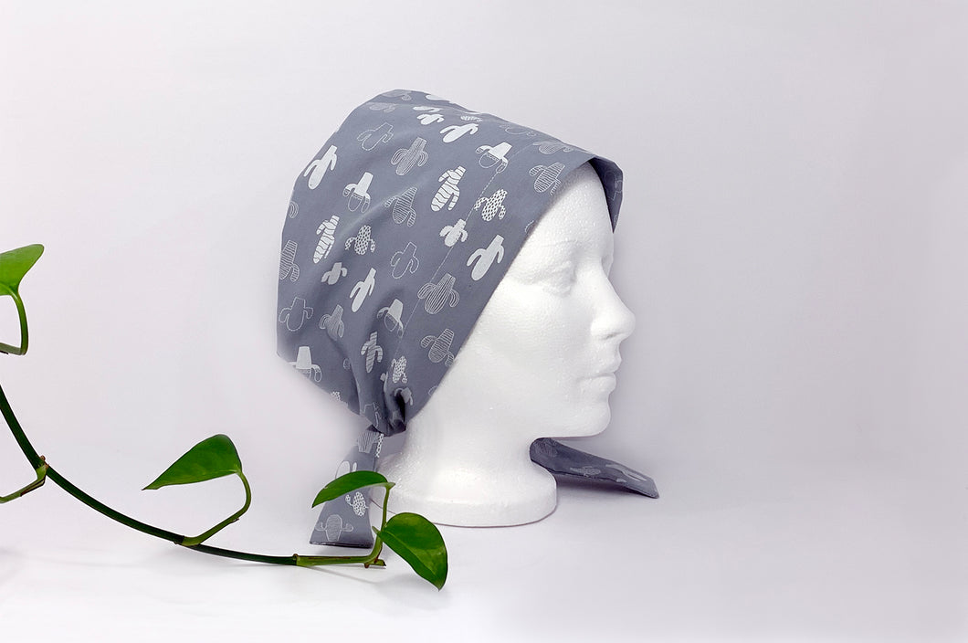 Right side view of Women cotton scrub cap Whit Cactus Pattern printed on Grey