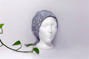 Front view of Women cotton scrub cap Whit Cactus Pattern printed on Grey