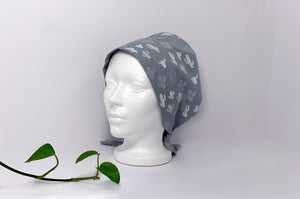 Left side view of Women cotton scrub cap Whit Cactus Pattern printed on Grey