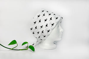 Right view of Scrub Cap with Black Flamingo print on White ground