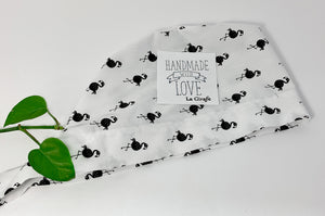 Folded Scrub Cap with Black Flamingo print on White ground