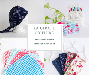 Photos of products made by La Girafe Couture such as scrub caps, makeup remover pads, face masks
