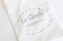 Load image into Gallery viewer, Closeup of La Girafe Logo on face mask pouch