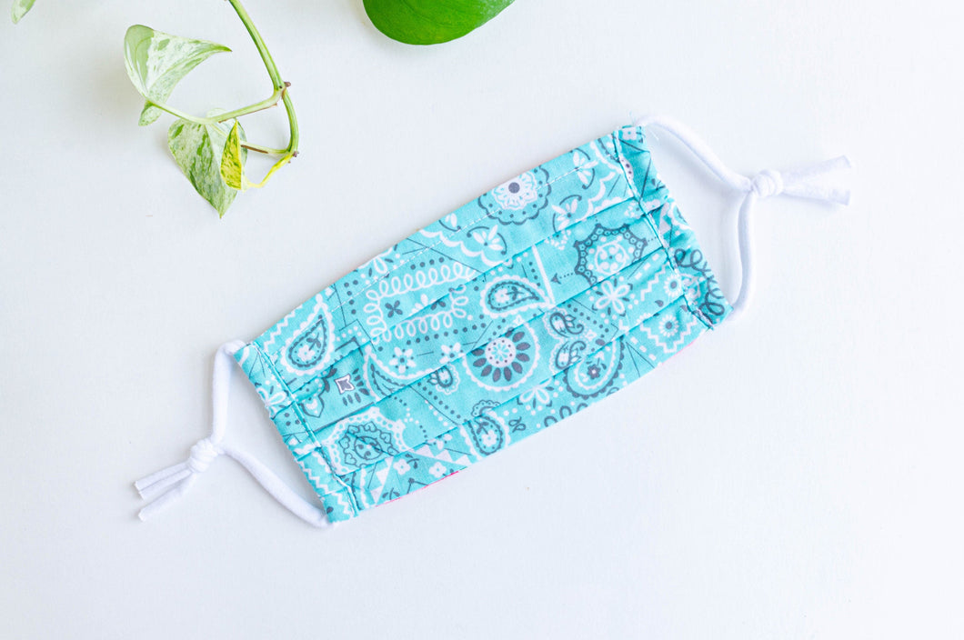 one face mask in Aqua paisley print