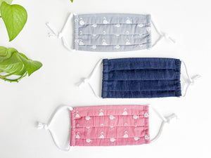 Three face mask one Pink with White Flamingo one Blue Denim, one Grey with White Flamingo