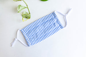 Face mask Blue and White Stripes