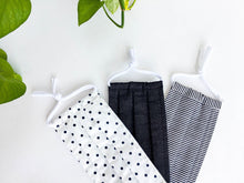 Load image into Gallery viewer, Close up of Three face masks of Black and White Polka Dots Stripes and Denim