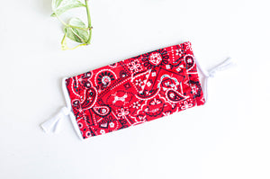 Face mask red Paisley print
